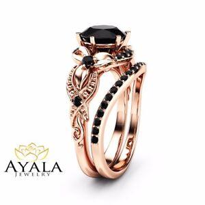Details About Vintage Black Diamond Engagement Ring Set 14k Rose Gold Matching Rings