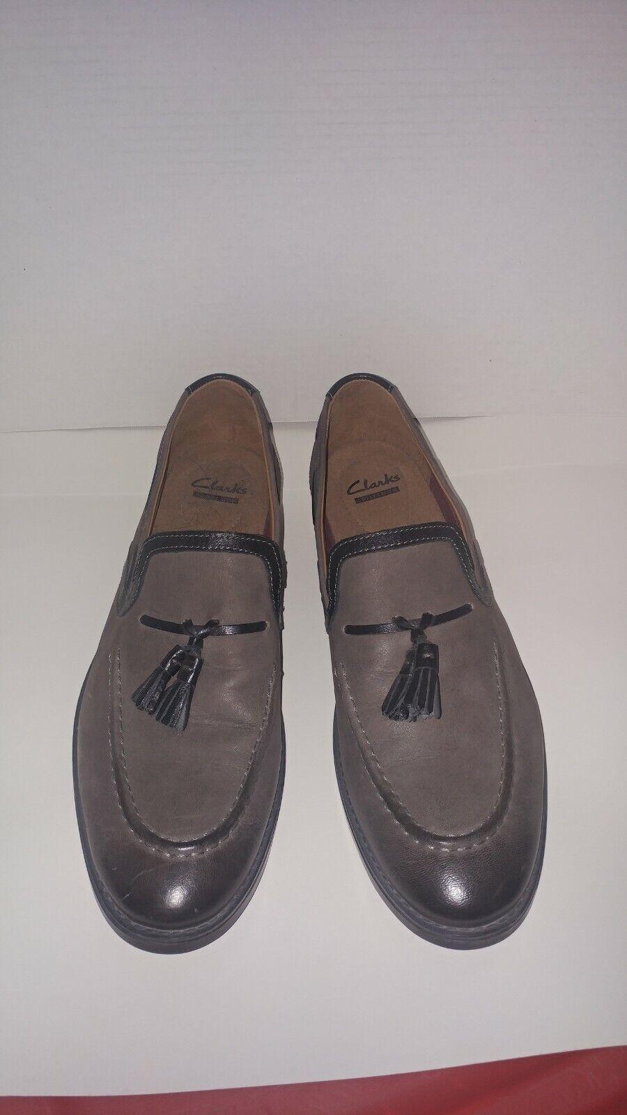 Men's Clarks Garren Style Tassel Loafer Grey Full Grain Leather 26114003 - 11.5