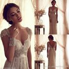 Vintage Beaded White Ivory Lace Beach Bridal Gown Wedding Dress Custom Size 2-26
