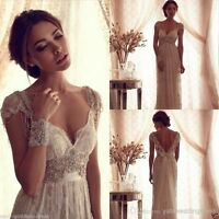 Vintage Beaded White Ivory Lace Beach Bridal Gown Wedding Dress Custom Size 2-26