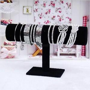 New-Black-Velvet-T-Bar-Jewelry-Bracelet-Rack-Necklace-Stand-Holder-Display-US