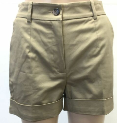 $795 Dolce /& Gabbana Womens Flat Front Beige Bermuda Zip-Fly Stretch Shorts 2//38