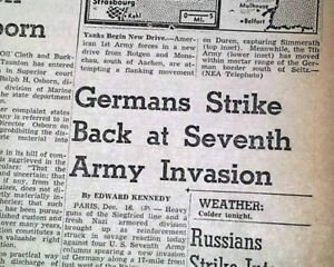 BATTLE OF THE BULGE BEGINS Initial Attack by the Germans 1944 WWII Old Newspaper