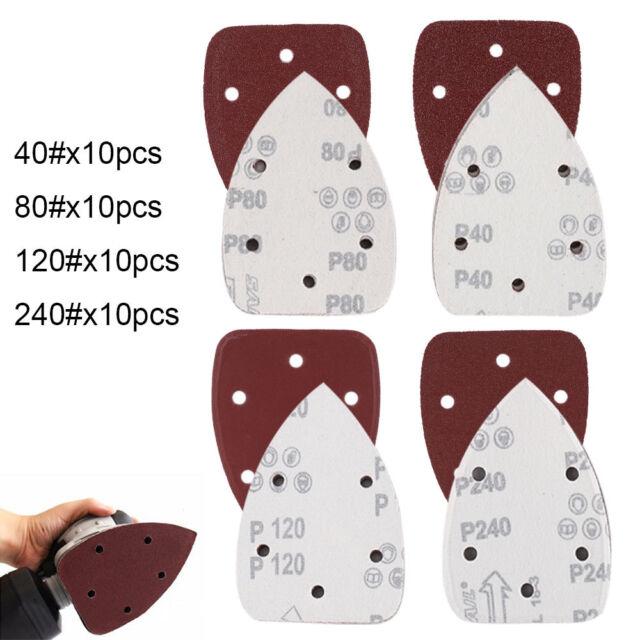 40PCS Sanding Discs Sheet Triangle Mouse Sandpaper Grinder Pads Palm Sander