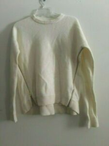 donna 100 S B1252 J lana formato zip lana crew laterale avorio in maglione stile Top TqyHOg