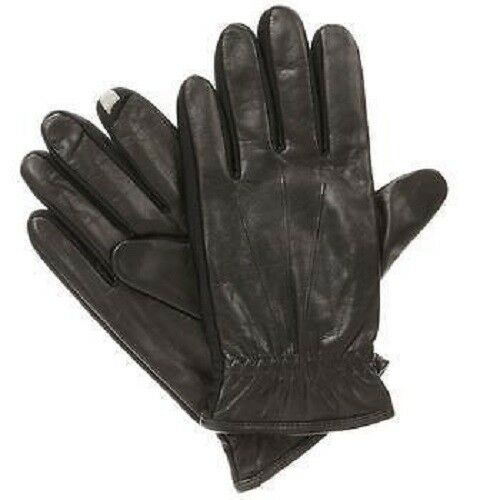 ISOTONER Men/'s smarTouch Stretch Leather Spandex Gloves BLACK Fleece lined