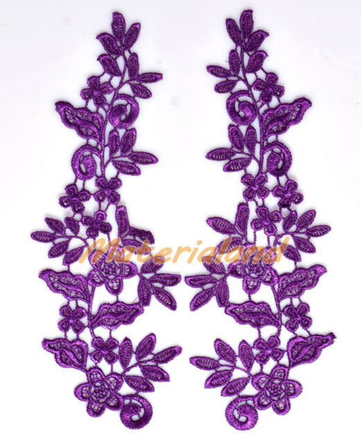 By pair Dark Purple Venise Flower Lace Applique Guipure Trims Craft DIY #VL09G