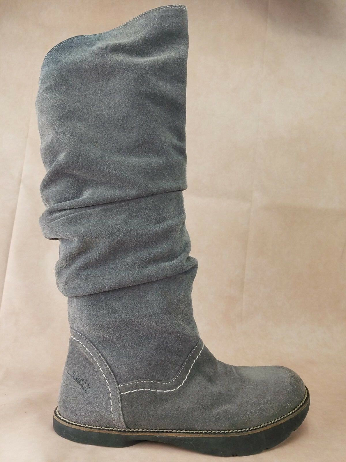 Kalso Earth SWANK Femme SLOUCH genou bottes Taille 7 B cuir gris