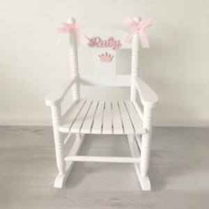Brilliant Details About Girls Boys White Wooden Personalised Rocking Chair Bralicious Painted Fabric Chair Ideas Braliciousco
