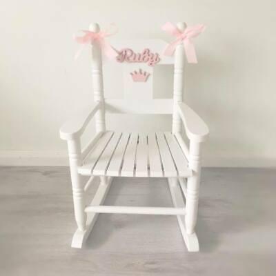Girlsboys White Wooden Personalised Rocking Chair | eBay