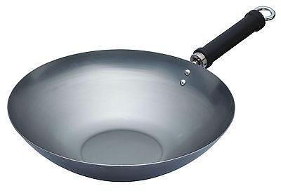 """Kitchen Craft Pure Oriental Carbon Steel 30Cm Plain Steel Wok. (12"""")"""