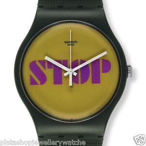 Swatch-Watch-SUOG104-Stop-Think-Talk-NEW-Trompe-L-Oeil-Gents-Unisex-Gift