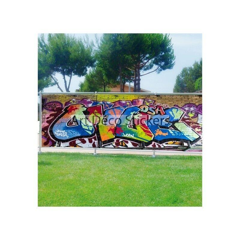 Brise vue déco imprimé pour jardin, balcon ou terrasse Tag Graffiti 9104