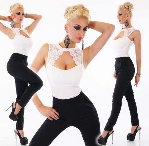 ITALY Donna Overall Elegante Elegant Jumpsuit Pantaloni vestito Onepiece PARTY PUNTA FISSA