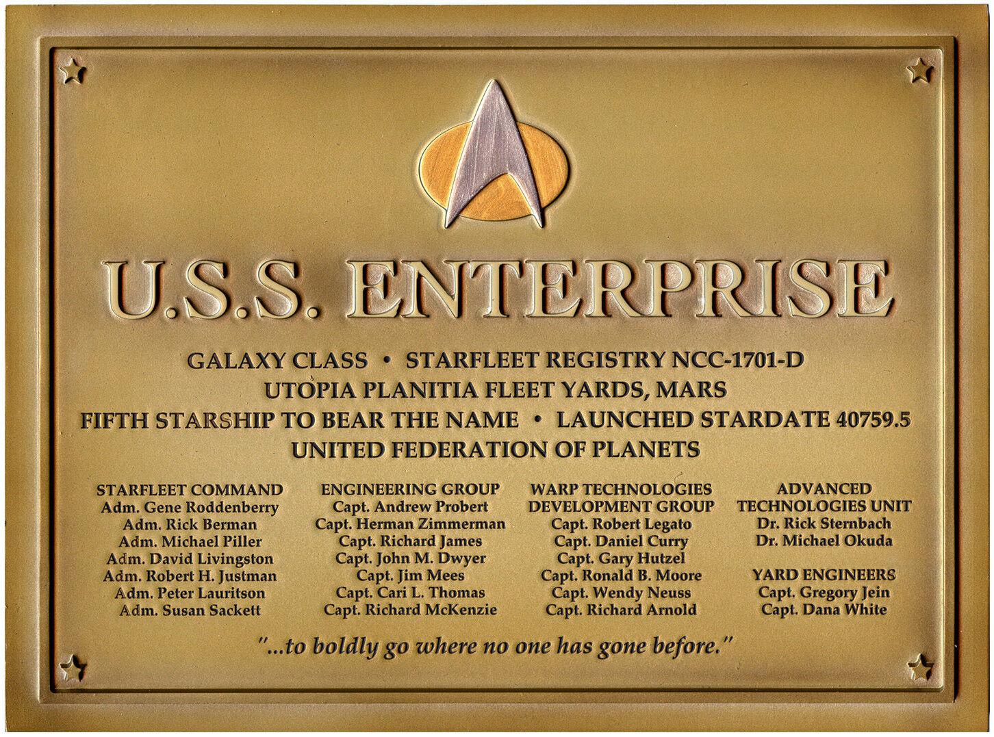 Enterprise NCC 1701-D - Star Trek Plakette -  Dedication Plaque Replica - Neu