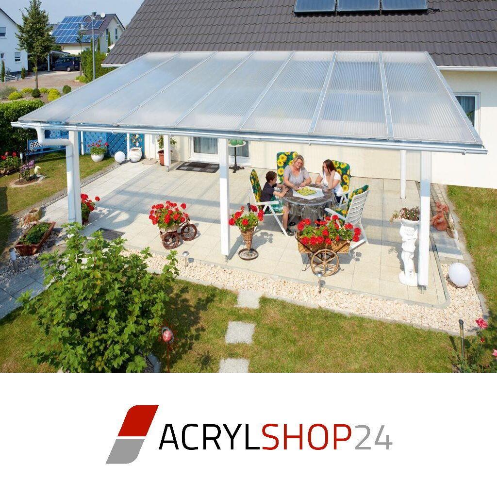 Komplettdach   Terrassendach aus 16mm Stegplatten klar, opal oder bronce