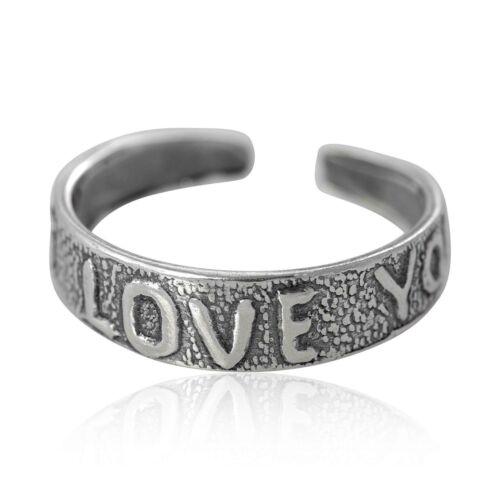 925 Sterling Silver Love Heart Adjustable Toe Ring Gift Bag UK SELLER