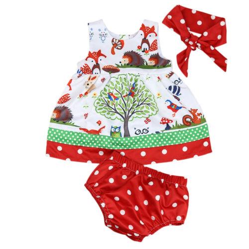 Pretty Toddler Baby Girls Woodlands Princess Dress Dot Shorts Pants Headband Set