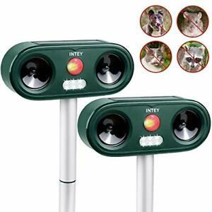 INTEY Cat Repellent Ultrasonic 2PACKS, Outdoor Animal Repeller Deterrent,