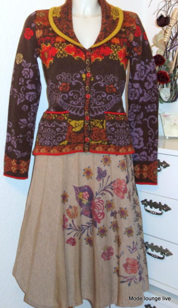 IVKO laine d'AGNEAU VESTE DE Vasilia Beautiful à fleurs motif châle brown 42511