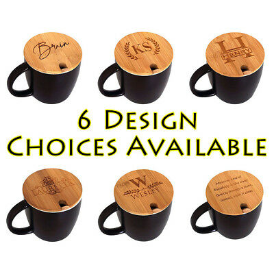 Personalised Ceramic Porcelain Coffee Cup Mug with Engraved Bamboo Lid y 14 oz