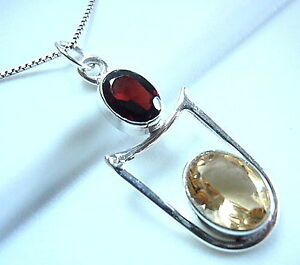 Two-Gem-Faceted-Garnet-and-Citrine-Necklace-925-Sterling-Silver-Oval-New
