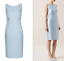 Hobbs-Crystal-Blue-Silk-Wool-Occasion-Shift-Cocktail-Wedding-Party-Dress-6-34 thumbnail 2