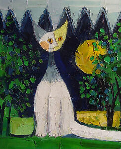 A-Cat-In-A-Field-Original-Handmade-Modern-Oil-Painting-on-Canvas-30-034-x-36-034
