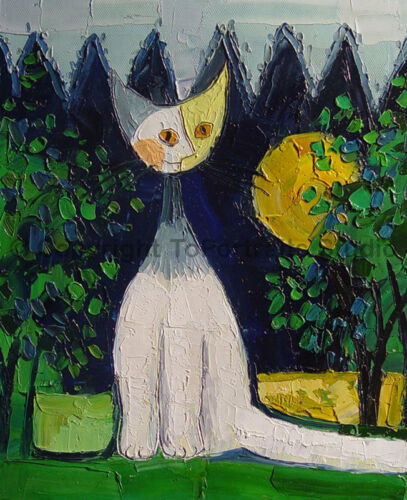 """A Cat In A Field Original Handmade Modern Oil Painting on Canvas 30/"""" x 36/"""""""