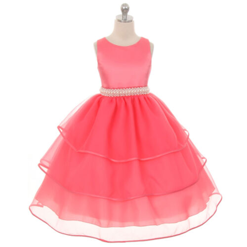 CORAL Flower Girl Dress Recital Wedding Party Birthday Pageant Homecoming Prom