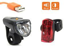 Fahrrad USB Akku Beleuchtungsset AXA Greenline 15 Lux LED Scheinwerfer Rücklicht