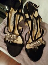 7c7d4f30a23 item 5 Jimmy Choo Sandal Satin Cutout Strappy Crystal Pearl Heel Shoe 37