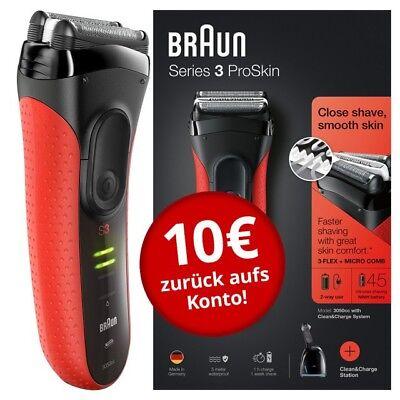 Braun Series 3 ProSkin - 3050cc System rot Elektrorasierer mit Reinigungsstation