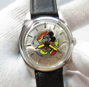 MICKEY-MOUSE-034-HMT-Europe-034-Manual-Wind-Glow-Markers-KIDS-CHARACTER-WATCH-837-L-K