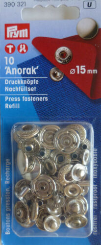 10 nähfrei-pulsadores anorak 15 mm plata keratina 390 321