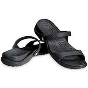 b82bd951c6a Image is loading Crocs-Cleo-Sandal-Black-Women-6-7-8-