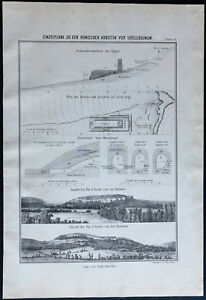 1866 - Plano Trabajo Romanos Para Uxellodunum - Jules César