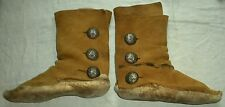 ANTIQUE c1930 NAVAJO INDIAN HIDE MOCCASINS BOOTS SILVER CONCHO BUTTONS vafo