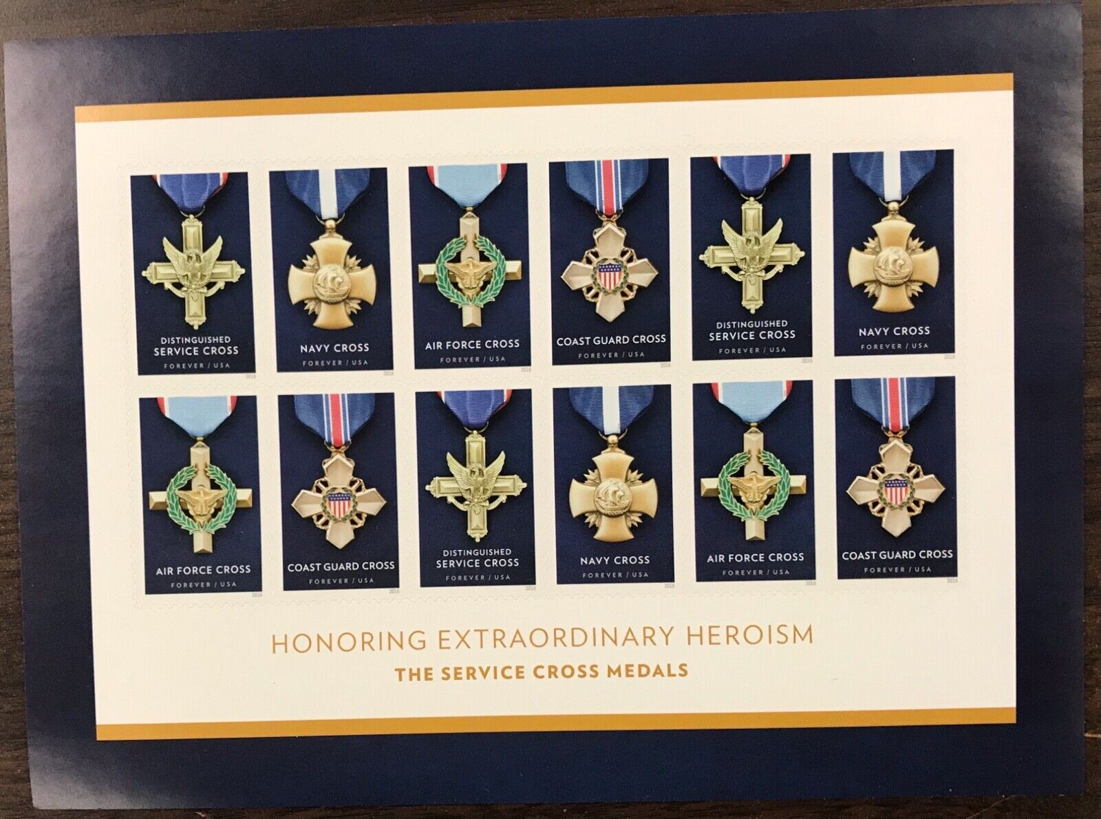 5065-5068    Service Cross Medals  MNH Forever sheet of 12    FV $6.60   In 2016