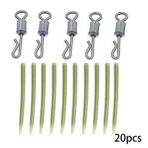 20X-Fishing-Tackle-Karpfen-Karabinerhaken-Quick-Change-Wirbel-Anti-K4C4-A3Z-Q9H0