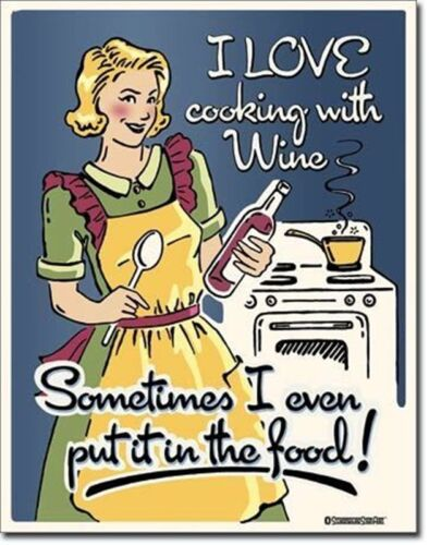 de Funny Metal Sign  410mm x 320mm I Love Cooking With Wine.