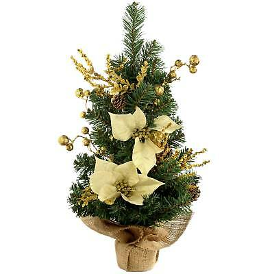 2ft Burlap Base Decorated Christmas Tree, Frosted Silver ...