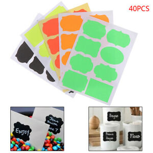 40pcs Colorful Chalkboard Board Spice Stickers Kitchen Jam Jar Organizers LabNA