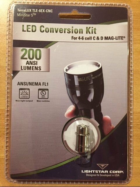 TERRALUX TLE 6EX CNC MiniStar 5 LED BULB 200 LUMENS 4 to 6 cell C and D MAGLITE