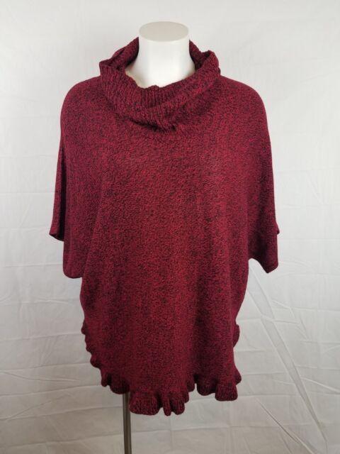 Woman/'s Plus Size Cowl Neck Ruffle Hem Poncho sweater by Studio Works