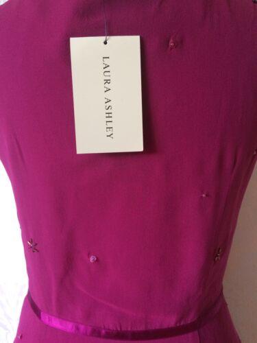 Beautiful Dress Nuovo 10 Raspberry Bnwt Pink Taglia Beaded Ashley Laura Silk WnHF6Zgwa