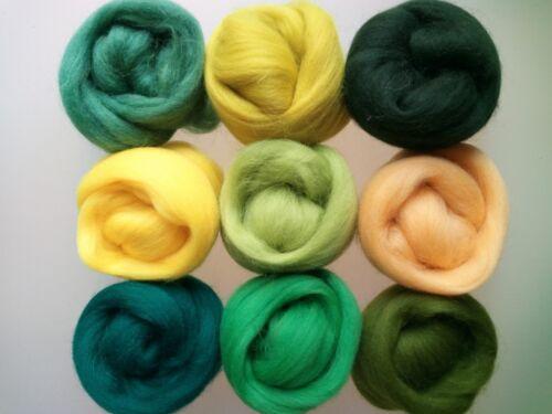 Prendas para el torso de Lana Pura Para Fieltrar 9 Colores Pack de 90g Conjunto de marzo Amarillo Verde