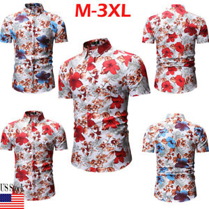 Luxury-Mens-Stylish-Casual-Dress-Shirt-Slim-Fit-T-Shirts-Formal-Short-Sleeve-Top