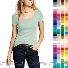 Basic Scoop Neck T Shirt Women Solid Plain Top Layer Stretch Blank Fitted 3007
