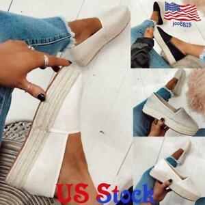US-Women-Flat-Espadrilles-Platform-Wedge-Slip-On-Casual-Loafers-Pumps-Shoes-Size